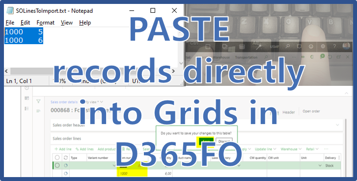 New über cool feature from Microsoft: Paste records INTO a grid in D365FO